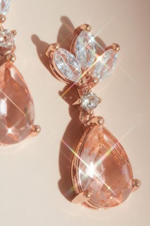 Pear-Cut Gemstone Earrings with Marquise Crystals