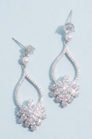 Cubic Zirconia and Pearl Drop Earrings with Bursts