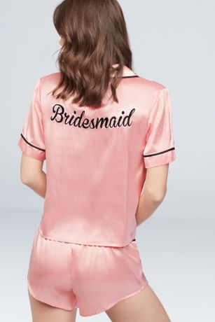 Silky Embroidered Bridesmaid Pajama Set