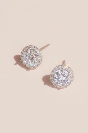 Solitaire-Cut Crystal Stud Earrings with Pave Halo