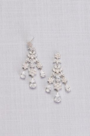 Floral and Pear Cubic Zirconia Chandelier Earrings