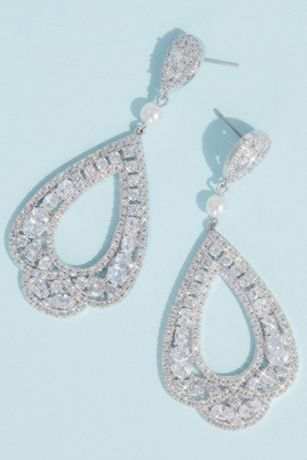 Cubic Zirconia and Pearl Scalloped Drop Earrings