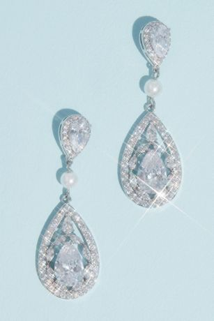 Teardrop Crystal Haloed Drop Earrings with Pearl