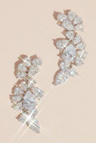 Teardrop Crystal Encrusted Cluster Earrings