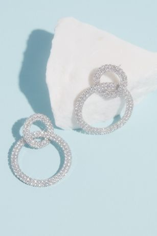 Linked Rhinestone Double Hoops