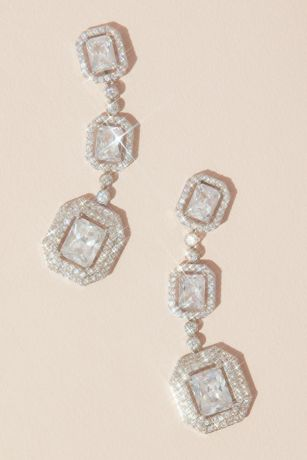 Emerald Cut Haloed Cubic Zirconia Drop Earrings