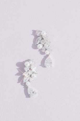 Clustered Crystal and Faux Pearl Earrings