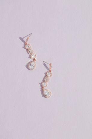 Crystal Shape Stack Halo Drop Earrings