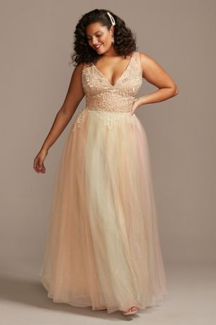 Embellished Illusion Multi-Color Plus-Size Gown