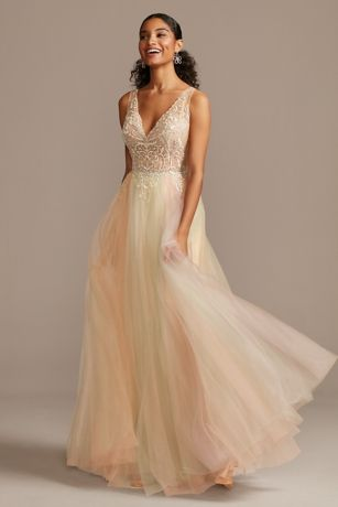 Embellished Illusion Multi-Color Tulle Ball Gown