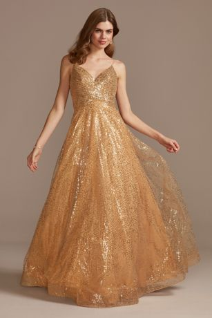 Sequin Spaghetti Strap Low Back Ball Gown