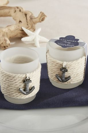 Frosted Glass and Rope Anchor Tea Light Holders