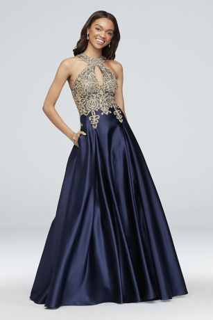 Long Ballgown Halter Dress - Xscape