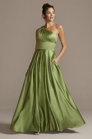 One Shoulder Satin Strappy Back Ball Gown