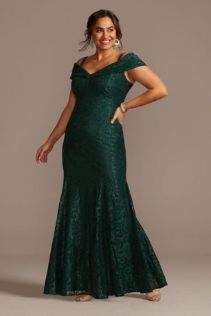 Cold-Shoulder Glitter Lace Plus Size Mermaid Dress