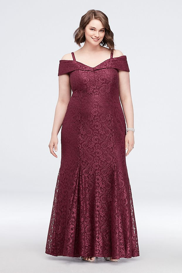 Cold-Shoulder Glitter Lace Plus Size Mermaid Dress