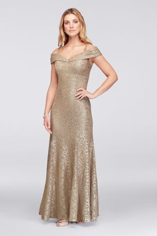 Glitter LaceCold-Shoulder Mermaid Dress