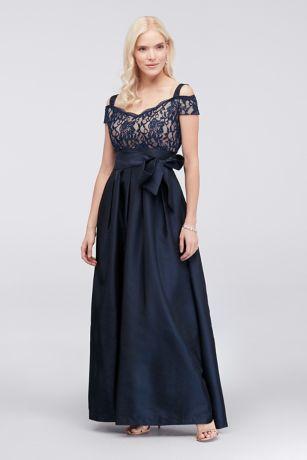Pleated Taffeta Dress with Glitter Lace Bodice