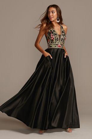 Long Ballgown Halter Dress - Blondie Nites