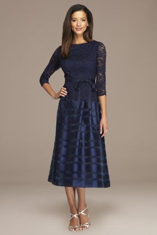 Tea Length A-Line 3/4 Sleeves Dress - Alex Evenings