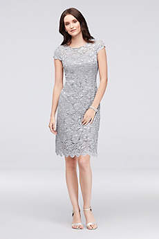 Short Sheath Cap Sleeves Cocktail and Party Dress - Alex Evenings
