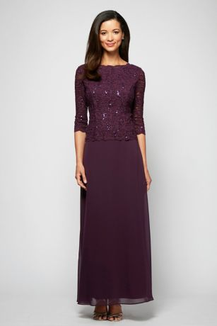 dc2996d872f Long A-Line 3 4 Sleeves Dress - Alex Evenings