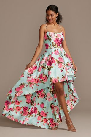 High Low Ballgown Spaghetti Strap Dress - Blondie Nites