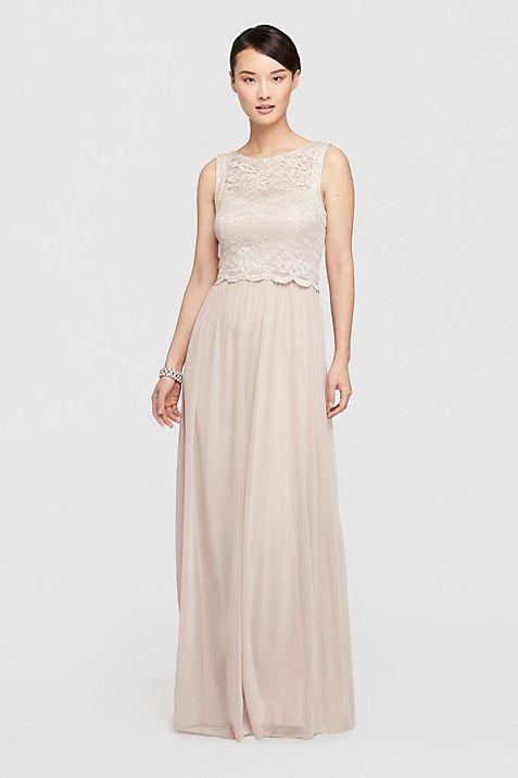 Mock Two Piece Long Dress with Glitter Bodice   David\'s Bridal