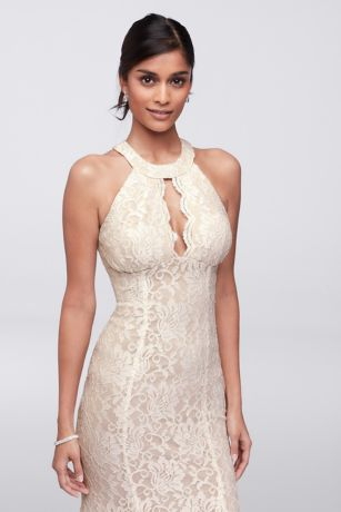 Long Glitter Lace Halter Dress With Keyhole Neck David S
