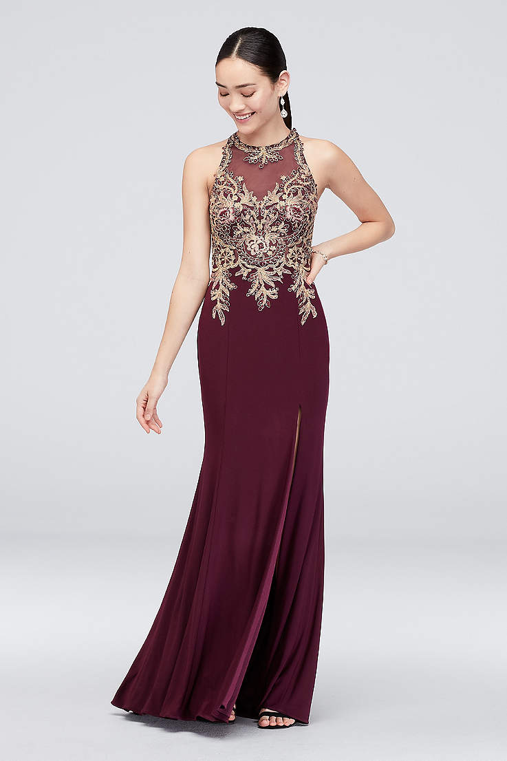 df8e906c359 Long Sheath Halter Dress - Xscape