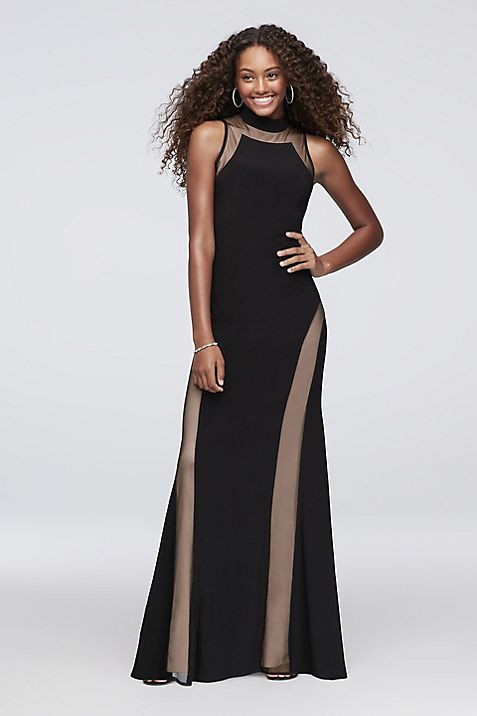 Mock-Neck Jersey Gown with Illusion Insets | David\'s Bridal