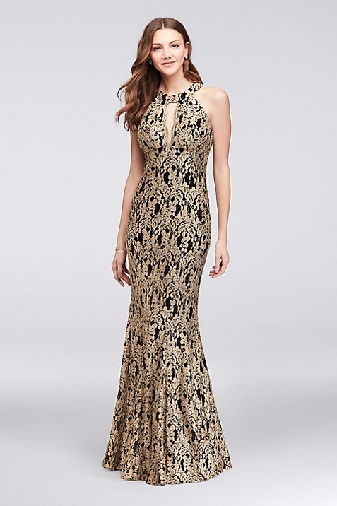 Gold Lace High-Neck Halter Mermaid Gown | David\'s Bridal