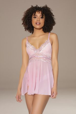 Coquette Lace-Trimmed Swingy Chemise and Thong