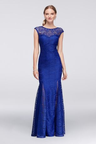 Scalloped Lace Mermaid Gown with Godet Skirt