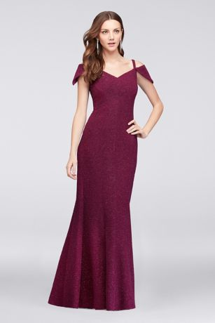 Textured Glitter Off-The-Shoulder Mermaid Gown