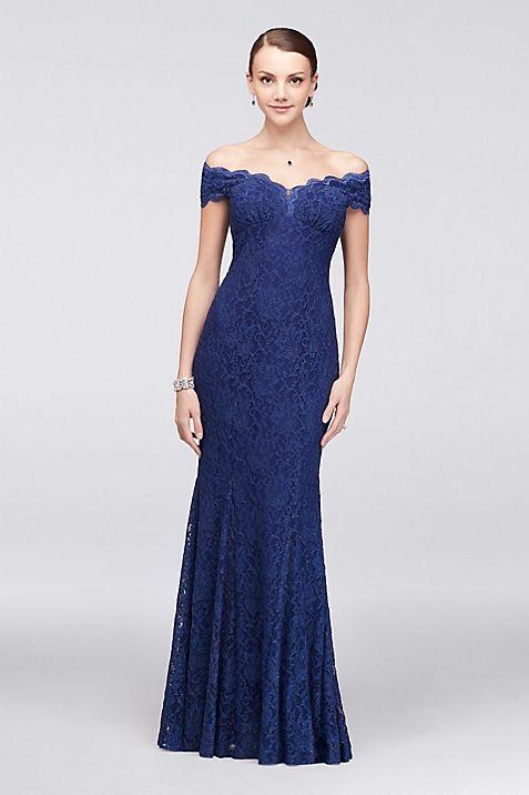 Scalloped Off-the-Shoulder Lace Mermaid Dress   David\'s Bridal