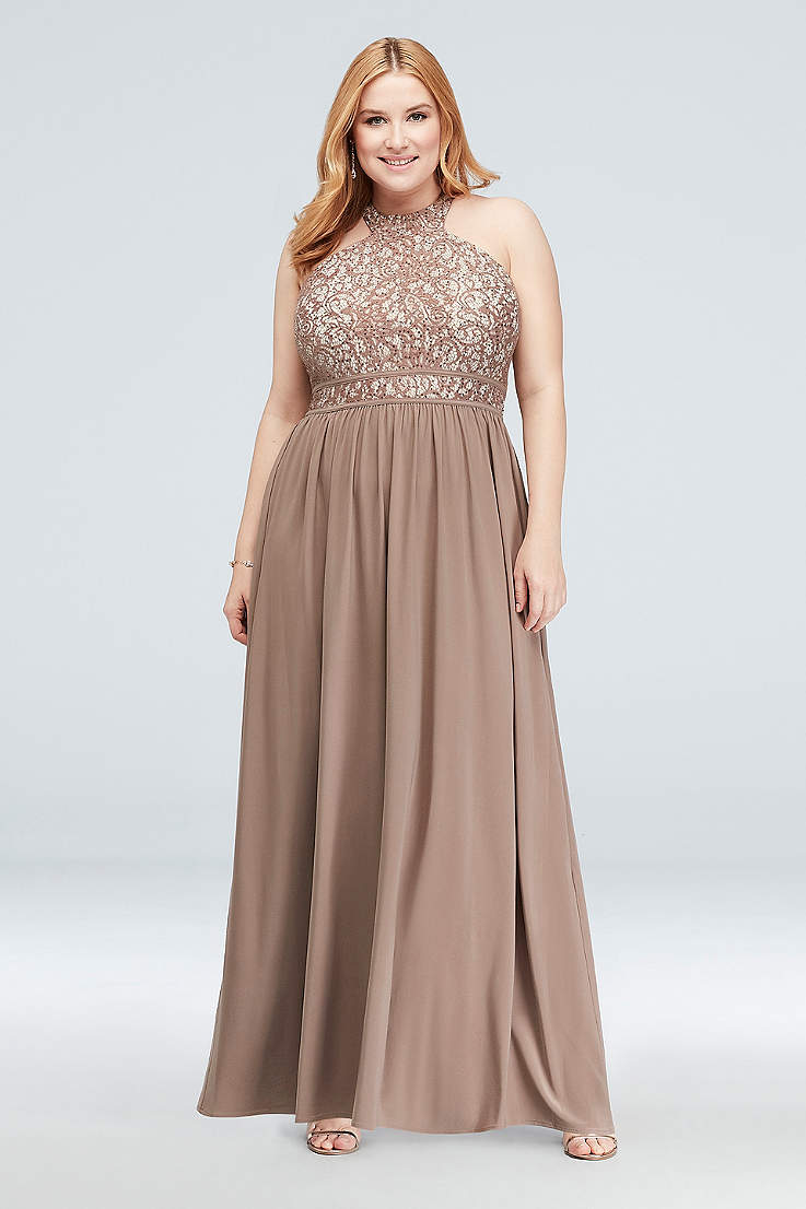 4cd44e719aeb Round-Neck Lace and Jersey Halter Plus Size Gown