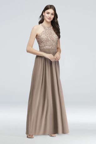 Round-Neck Lace and Jersey Halter A-Line Gown