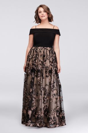 Cold Shoulder Plus Size Ball Gown with Floral Lace | David
