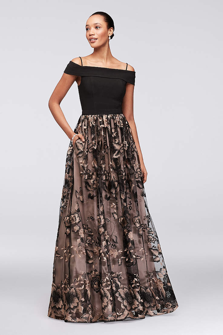 Long Ballgown Off the Shoulder Dress - Nightway 3863eec0f146