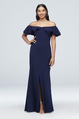 Long Sheath Off the Shoulder Dress - Morgan and Co