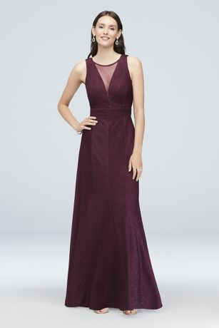 Illusion V-Neck Glitter-Knit Sheath Gown
