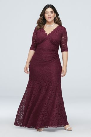 V-Neck Ruched Lace Plus Size Gown with 3/4 Sleeves