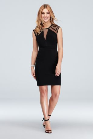 Illusion Cap Sleeve and Plunging-V Short Dress