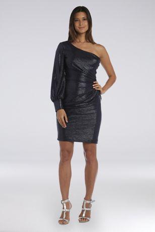 Short Sheath One Shoulder Dress - Morgan and Co