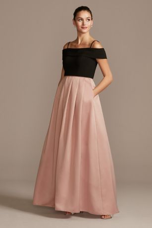 Off-the-Shoulder Gown with Pocketed Satin Skirt