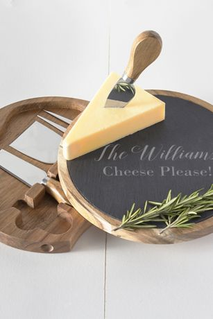 Personalized Slate and Acacia Cheese Board Set