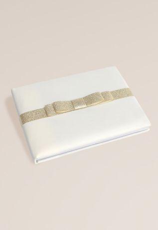 Gold Glitter Bow Guest Book