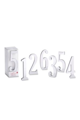 Silver Mirror Table Numbers Set of 6