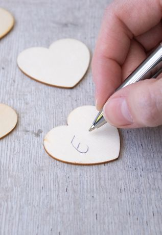 Wooden Hearts for Guest Book Alternative